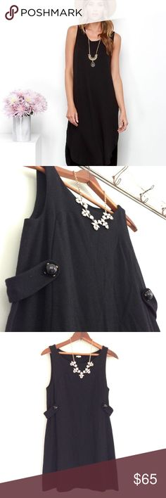 🆕 J. Crew black shift dress Stunning black shift dress by J. Crew, simple elegance for your next dress party! Has two ebony bubble accents at the waist, size small, is 100% wool. J. Crew retail J. Crew Dresses