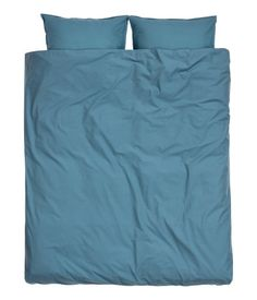 Dark teal. King/queen duvet cover set in cotton fabric. Two pillowcases. Thread count 144.