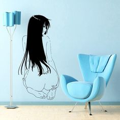Japanese Cartoon Vinyl Wall Decal Anime Manga MANGA SEXY GIRL WITH TATOO Mural Art Wall Sticker Home Decoration Bedroom Decor #Affiliate