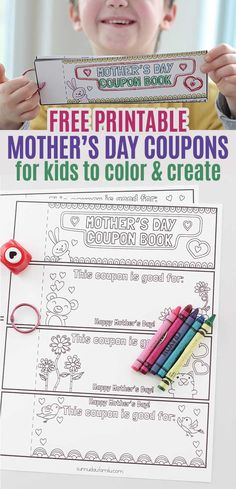 Free printable Mother's Day coupons for kids to color and create! Moms will love these printable coupons for Mother's Day - it's a totally personalized, kid made gift that she will treasure. Diy Gifts For Mom, Mothers Day Crafts For Kids, Diy Mothers Day Gifts, Mothers Day Cards, Happy Mothers Day, Diy Mother's Day Crafts, Mother's Day Diy, Holiday Crafts, Mother's Day Printables