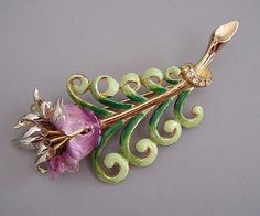 Coro lavender and green with clear and purple enameled flower brooch