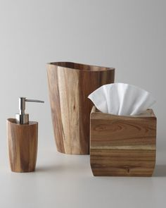 Acacia Wood Vanity Accessories   Horchow ($30 Soap Dispenser And $25 Cup)