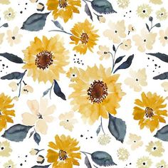 Sunflower Girl Fabric Collection by Indy Bloom at Hawthorne Supply Co Sunflower Pattern, Sunflower Print, Yellow Sunflower, Frühling Wallpaper, Pattern Wallpaper, Wallpaper Backgrounds, Wallpaper Quotes, Cute Backgrounds, Cute Wallpapers