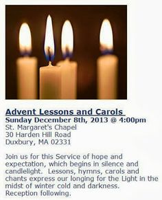 Sister Sarah's Excellent Adventure: Advent Lessons and Carols tomorrow!