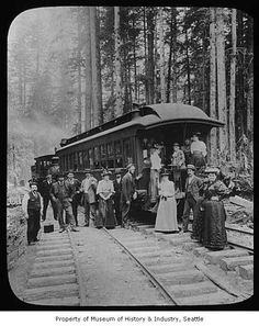October 2014 - In honor of American Archives Month, we're pinning this image of the opening of Seattle, Lake Shore & Eastern Railway, Seattle, ca. 1887, by Asahel Curtis, from the Museum of History and Industry Photograph Collection. This is the railway that reached Snoqualmie and North Bend.