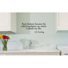 Amazon.com: Rock bottom became the solid foundation on which I rebuilt my life. J.K Rowling Vinyl wall art Inspirational quotes and saying home decor decal sticker: Home & Kitchen