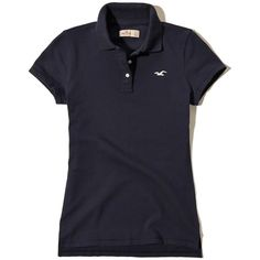 Hollister Iconic Slim Stretch Polo (€18) ❤ liked on Polyvore featuring tops, navy, navy top, blue top, stretch top, navy blue top and polo tops