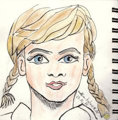 """""""Marilyn in Manga style"""" - Few days ago I again watched """"Misfits"""" on TV, that inspired me to do this little sketch. 😃😀 #MarilynMonroe #Manga #Portrait #Sketch #Watercolor"""