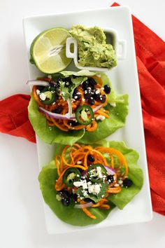 Black Bean and Butternut Squash Noodle Tacos