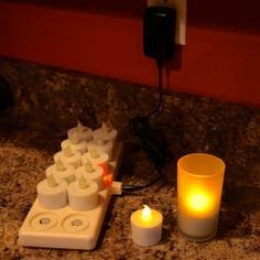 Set of 12 Rechargeable Amber Battery Tea Lights