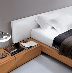 Modern Italian bed lacquered heaboard and walnut bedframe - available with storage . Italian furniture made.