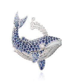 Van Cleef & Arpels Baleine Bleue sapphire and diamond whale clip
