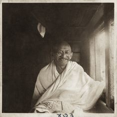 Mahatma Gandhi during his train journey to Bengal, Assam and South India, November 1945-January 1946  (Photograph by Kanu Gandhi)