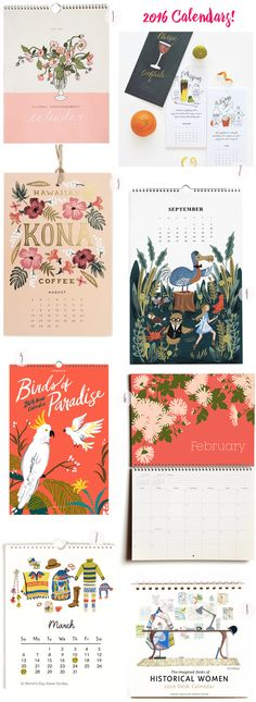 Beautiful Illustrated Calendars / 2016 Calendar Round Up / Oh So Beautiful Paper