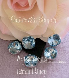 Aquamarine GF Sew On - Swarovski Crystal 12mm 4470 in a SP 4-hole Prong Setting - Wire Jewelry Supply - Component
