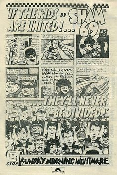 Dangerous Minds | Comic style ad for Sham 69's 'If the Kids are United'