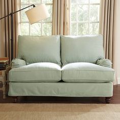 Maybe something similar to this color for loveseat or chairs? Birch Lane Montgomery Slipcovered Loveseat