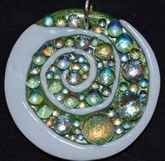 Spiral Pendant, Dichroic Fused Glass Necklace