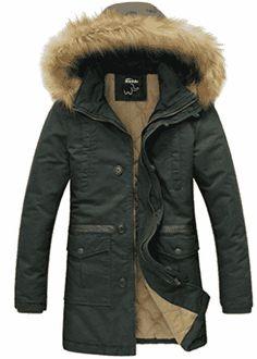 Wantdo Men's Winter Thicken Cotton Jacket With Fur Hood - Parka Jackets for Men Mens Parka Jacket, Parka Jackets, Leather Jacket, Best Parka, Mens Outdoor Clothing, Denim Jacket Fashion, Big And Tall Outfits, Cotton Jacket, Outdoor Outfit