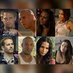 Paul Walker Vin Diesel Jordana Brewster & Michelle Rodriguez from 2001 - 2013