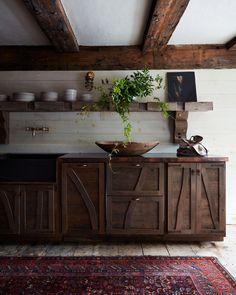 Artist Studio: Provincetown, MA Hans Hofmann, Farmhouse Kitchen Island, Farmhouse Kitchens, Kitchen Islands, Farmhouse Interior, Ryan Murphy, Painting Studio, Kitchen Cabinetry, Cabinets