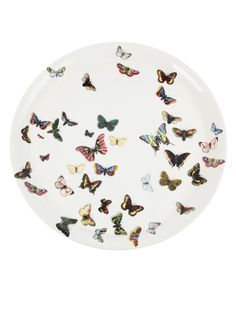 White lacquered metal tray from Fornasetti featuring an all-over multicoloured butterfly print. Piero Fornasetti, Round Tray, Plate Art, Butterfly Print, Madame Butterfly, China Art, Animal Decor, Italian Art, Decoration