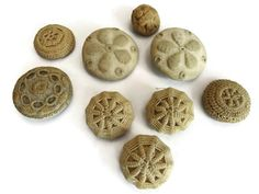 Etsy の Antique Victorian Handmade Cloth Buttons by AddVintage
