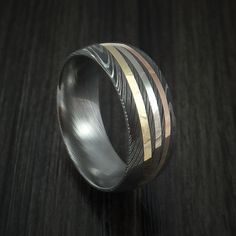 Damascus Steel Ring with Diagonal 14K Gold Inlays Wedding Band Custom Made