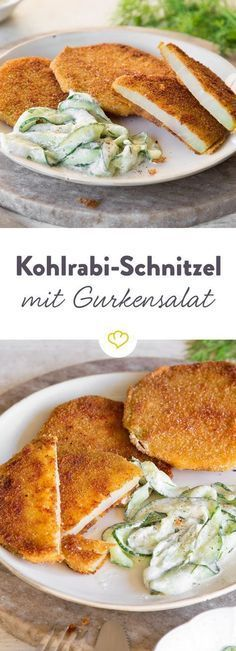 Season the kohlrabi slices, then turn in the flour, egg and breadcrumbs. Add crunchy cucumber with crème fraîche and dill - the veggie feast is done. Veggie kohlrabi schnitzel with creamy cucumber salad Ralf Klaus ralfklaus Essen Season the kohlrab Vegetarian Recipes, Cooking Recipes, Healthy Recipes, Grilling Recipes, Snacks Recipes, Shrimp Recipes, Eat Healthy, Pasta Recipes, Salad Recipes