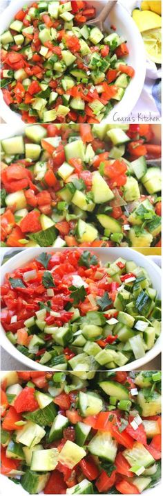 A light, vibrant, easy to throw together Mediterranean Cucumber Tomato Salad perfect alongside any savory meal  B good with avocado too