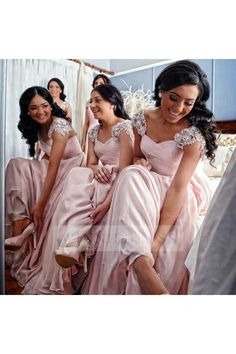 Shop discount Cap Sleeve Chiffon Blush Bridesmaid Dress With Soft Ruching And Lace Appliques WNBD4524