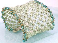 Lucite green bracciale a fascia tessuto a mano di morenamacrame