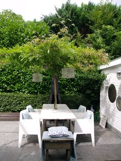 love the green covered table | patio of   @Sonia S S S S Dijkstra