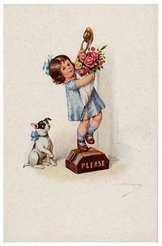 Jack w girl door knocker postcard