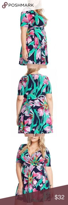 Swing floral dress plus sizes 1x 2x 3x jr sizing Beautiful floral swing dress with side ties. Very trendy this summer. Size 1x-3x available Fabric Content: 96% Polyester 4% Spandex JR sizing Dresses Mini