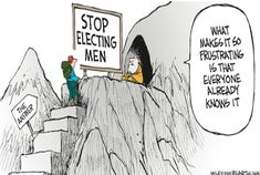 Editorial cartoon about voting. Women will love it. Men will hate it. It's clean and from a National newspaper.