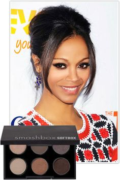Zoe Saldana  Take a traditional color—like chocolate brown—but smudge it around your eyes in a modern oval shape.    Key product: Smashbox Softbox Palette, $42, smashbox.com.        Read more: Smoky Eyes on Celebrities - Best New Smoky Eye Looks - Harper's BAZAAR
