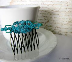 Hair comb Antique style Blue comb Hair accessory by WhiteTeapot, $16.00