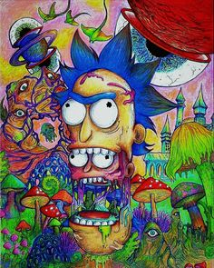 My most recent creation. I primarily used prismacolor premier colored pencils and sharpie ultra fine point pens to achieve this bright pigmentation. Trippy Drawings, Psychedelic Drawings, Cool Art Drawings, Rick And Morty Time, Rick And Morty Poster, Ricky Y Morty, Rick And Morty Drawing, Rick And Morty Stickers, Psychedelic Drugs