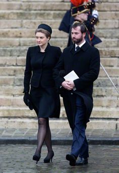 Hereditary Grand Duchess Stéphanie, December 12, 2014 | Royal Hats....The Belgian Royal Family was joined by cousins from the houses of Luxembourg and Liechtenstin for Queen Fabiola's funeral today in Brussels.