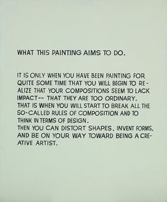 John Baldessari (b.1931), What This Painting Aims to Do, 1967. Synthetic polymer and oil on canvas