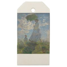 Claude Monet - Woman with a Parasol Artwork Wooden Gift Tags - antique gifts stylish cool diy custom