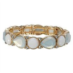 Anne Klein Teardrop and Round Crystal Stretch Bracelet   from Von Maur #VonMaur #StyleCorner #White #Bracelet #Accessories