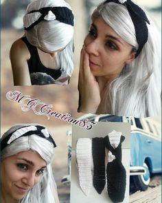 Fascia nera e fiocco bianco/nero ************************************* Black headband with bond of double colors black/white