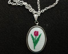 hand embroidered cross stitch pendant by BelaStitches on Etsy
