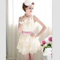 High Quality Layers Lace Splicing Sleeveless Dress