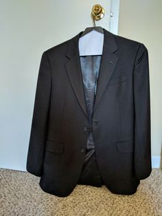 95a09d5d47 Jos A Bank full black classic-fit flat-frontpants two button wool used suit