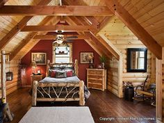 log home bedrooms | bear s den log homes specializes in log home construction and feature ...