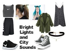 """Bright Lights and City Sounds"" by spazstyle ❤ liked on Polyvore featuring NIKE, Motel, ASOS and Converse"