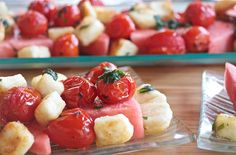 Fried Halloumi Salad With Tomatoes And Watermelon